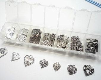70 Pendants, antique silver colour hearts