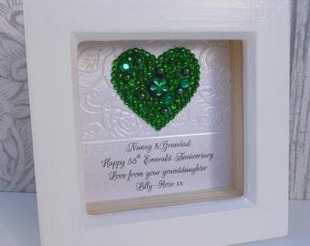 55th anniversary gift, 55th wedding anniversary gift,55th Emerald gift, Emerald wedding anniversary,personalised framed gift,handmade