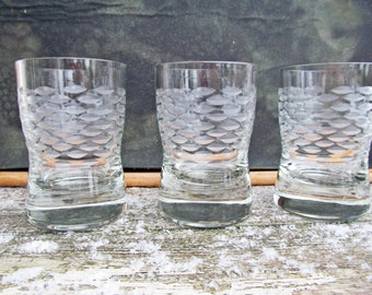 3 Tumbler for Whiskey or Scotch/ Shot glasses Crystal,  drinking glasses, Bar, Set of 3, Diamond Cut