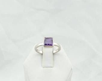 Simple Vintage Faceted Amethyst Bezel Set Sterling Silver Ring #AMETHYST-SR1