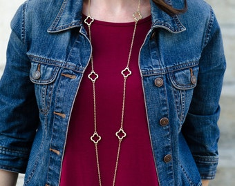 Long Gold Layering Necklace, Gwyneth Necklace