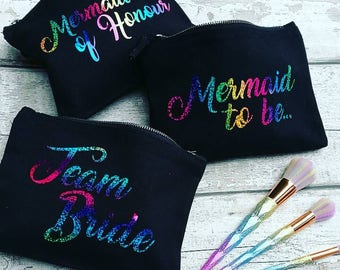 Personalised Rainbow Print Make Up Bags