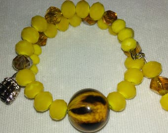 Yellow and Brown Stripes Bracelets with Charms