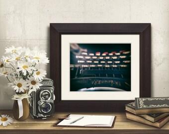 typewriter print, French Underwood Remington photo office decor, author writer gift, typewriter art, antique retro typewriter keys picture