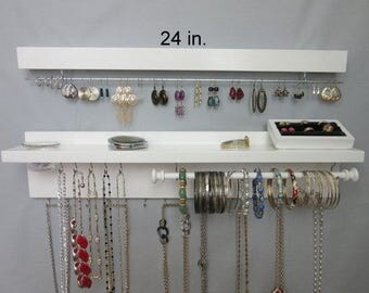 Wall Jewelry Holder with Necklace Storage, Earring Holder, Bracelet Bar, Ring Holder, Glass Jar for Stud Earrings, 30 hooks, Many Colors