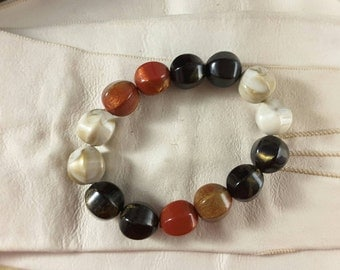 Stretch Bead Bracelet in Shades of Chocolate, Gold, Auburn and Cream