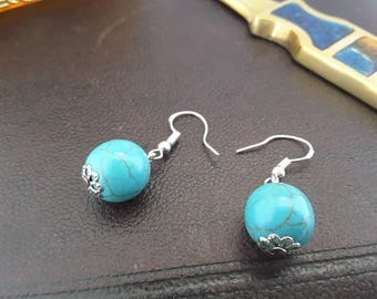 Sterling Silver and Turquoise Dangle Drop Pierced Earrings