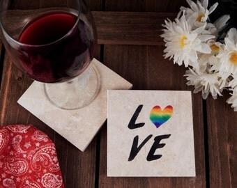 Set of 4 Love & Pride Travertine Stone Coasters