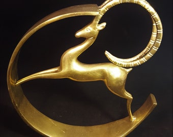Art Deco Style Leaping Gazelle Antelope Brass Sculpture Hollywood Regency Style