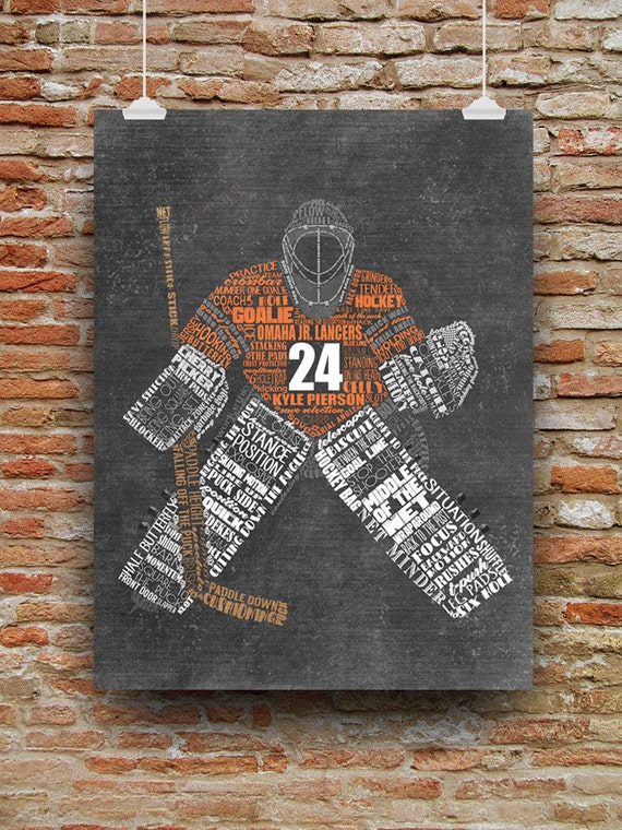 Personalized HOCKEY GOALIE Word Art - Add Player's Name Number & Team Name Hockey Gift or Hockey Coach's Gift Printable or Printed Shipped!