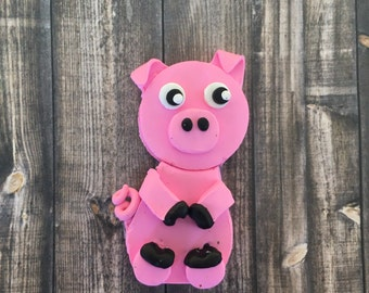 Pigs Farm Animals Pink Farmhouse Animals Kitchen Decor Pig Polymer Clay