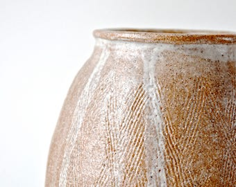 handmade and hand textured studio pottery tall vase. for large flower bunches.