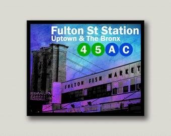 New York City, Fulton Street, Subway, Printable Art, Instant Download