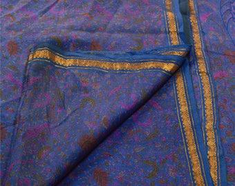 KK Printed Saree Pure Silk Craft Blue Fabric Zari Border Ethnic Sari