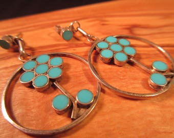 Cool Vintage Sterling Silver Turquoise Flower Power Earrings