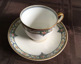Flat Cup & Saucer Set in Schleiger 344b by Haviland (Retired) (Set of 4)