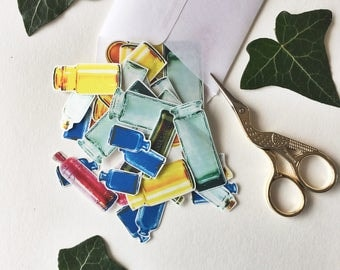 Coloured Glass Bottle Stickers