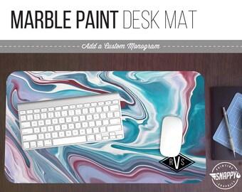 Marble Paint Print Desk Mat w/ Custom Monogram - 2 Sizes - High Quality Digital Print, Dye Sublimation - Hand Washable