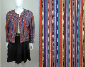 70s Ikat hand loomed crafted striped ethnic boho hippie cropped folk jacket