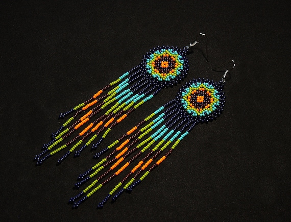 Native American Style Beaded Earrings, Small Medallion Long Dangle Earrings, Boho Tribal Fashion Earrings, Long Fringe Earrings