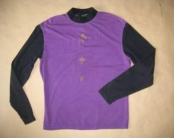 GAULTIER MAILLE # vintage 80's # purple longsleeve men # lilllies print #  sz M
