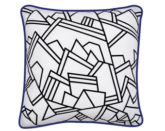 Black and white cushion cover  - 40 x 40 cm - graphic -  Pégase