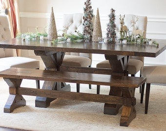 Solid Wood X Base Trestle Table And Matching X Base Bench Combo