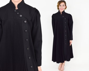 70s Black Pleated Coat | Long Full Polyester Coat | Medium