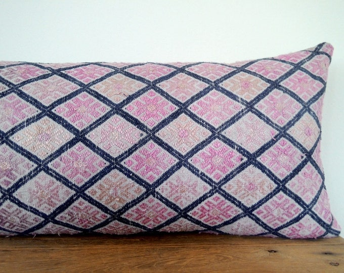 "11"" x 24"" Vintage Chinese Wedding Blanket Long Lumbar Pillow Cover / Boho Embroidered Pale Pink Indigo Dowry Textile / Handwoven Silk Pillow"