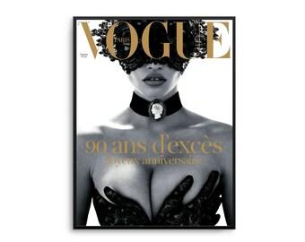 Vogue Paris Lace Print Poster Gold Fashion Vogue Poster Fashion Decor Vogue Cover Vogue Magazine Vogue Paris Original