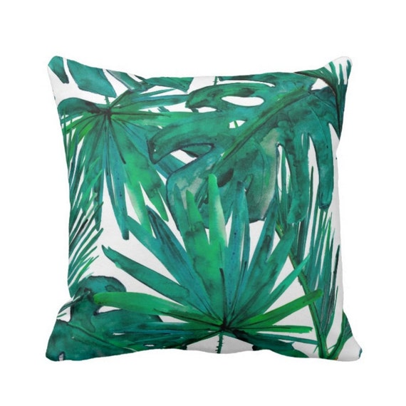 Palm Leaves Throw Pillow Jewel Tone Green & Blue Print 16