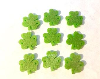 Acrylic Shamrocks, St. Patrick's Day, Green Bracelets, Green Glitter, wire bangle bracelets, jewelry making, St. Pat's Day Jewelry, shamrock