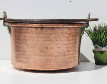 Antique French hammered copper cauldron, with brass and iron handles, French cooking pot ,cuisine ,kitchenalia