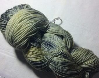 Hand dyed OOAK sock weight superwash merino/nylon yarn (forest)