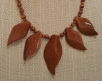 Leaf Necklace, Gold Sandstone Sitara