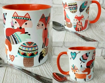 Tribal fox mug Coffee Mug Tribal Ceramic mug Mugs fox coffee mug funny fox mug fox cup tribal mug native American mug boho mug custom mug
