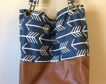 Brown Leather and navy canvas tote bag, beach bag, leather handbag, anhors, brown leather bag, leather tote bag