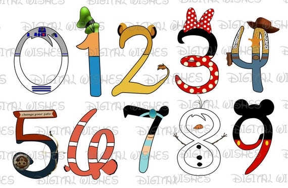 9 Letter Cartoon Characters : Disney character font text numbers through digital clip