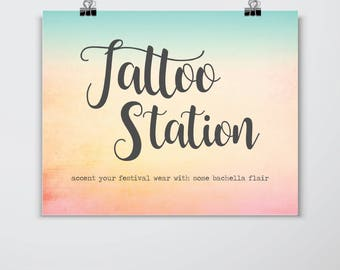 Printable// Digital File// Tattoo Station Sign// Bachella