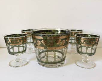 Vintage Cera Glass Golden Grapes Ice Bucket / Glass Set...Mid Century Modern 22kt Gold Trim Bar Glassware..Green / Gold On The Rocks Glasses