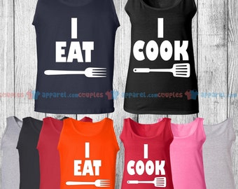 I Cook & I Eat - Matching Couple Tank Top - His and Her Tank Tops - Love Tank Tops