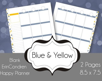 blue yellow vertical Printable Planner Pages - Weekly Spread - can be used with Happy Planners, or as an Erin Condren Insert