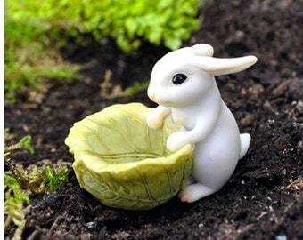 Fairy Garden  - Bunny With Cabbage Planter - Miniature