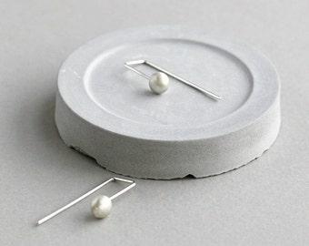 Minimal Silver Earrings - Silver Drop Earrings - Dainty Earrings - Edgy Earrings - Open Hoop Earrings - Minimalist Earrings - Arc Earrings