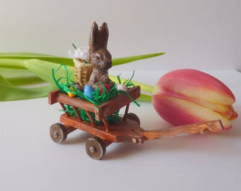1:12 / Easter / Easter Bunny in the car miniature wood cars / decoration for the Doll House / Shabby chic