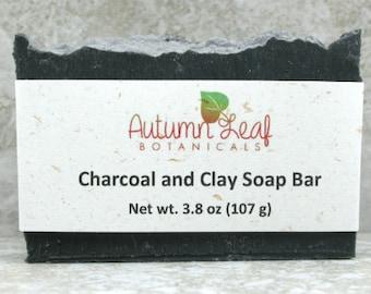 Charcoal and clay soap bar, Vegan soap, hot process soap, charcoal soap, palm free soap, facial soap, lavender, tea tree