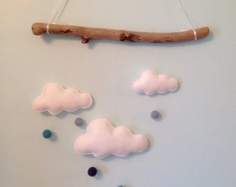 Driftwood and felt cloud wall hanging