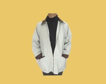 off white barn jacket with corduroy collar // size medium men's // vintage