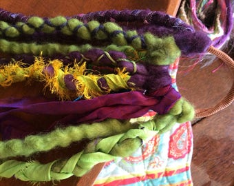 Ready to ship/Wool dreadlocks/wool dreads/green woollies/purple woolies/dreads/purple dreads/green dreads/dreadlocks/doll hair