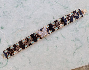 Signed Bob Mackie Butterfly link bracelet AB895
